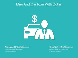 Man And Car Icon With Dollar