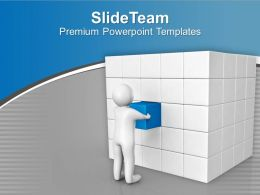 Man Arranges Cubes Business Solution PowerPoint Templates PPT Themes And Graphics 0213