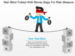 Man Blind Folded With Money Bags For Risk Measure Flat Powerpoint Design