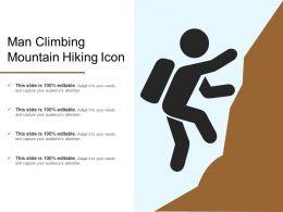 Man Climbing Mountain Hiking Icon
