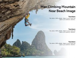 Man Climbing Mountain Near Beach Image