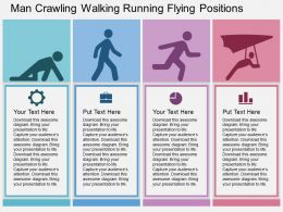 Man Crawling Walking Running Flying Positions Flat Powerpoint Design