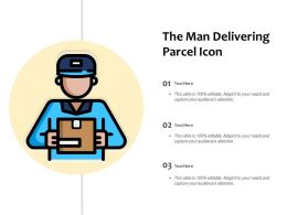 Man Delivery Icon With Parcel