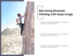 Man Doing Mountain Climbing With Ropes Image