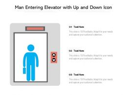 Man Entering Elevator With Up And Down Icon
