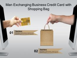 Man Exchanging Business Credit Card With Shopping Bag