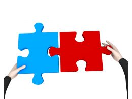 Man Fixing Red And Blue Puzzle To Display Problem Solving Stock Photo