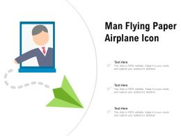 Man Flying Paper Airplane Icon