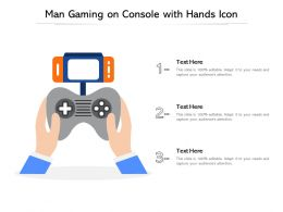 Man Gaming On Console With Hands Icon
