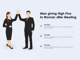 Man Giving High Five To Woman After Meeting
