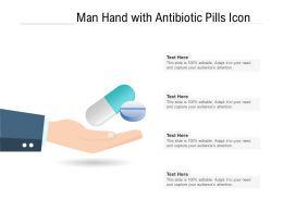 Man Hand With Antibiotic Pills Icon