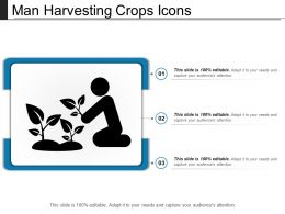 Man Harvesting Crops Icons