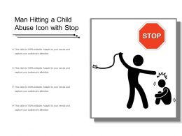 Man Hitting A Child Abuse Icon With Stop