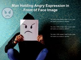 Man Holding Angry Expression In Front Of Face Image