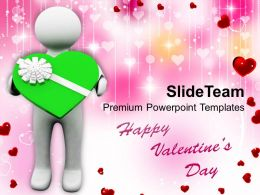 Man Holding Green Heart Valentines Illustration PowerPoint Templates PPT Themes And Graphics 0213