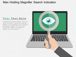 Man Holding Magnifier Search Indication Flat Powerpoint Design