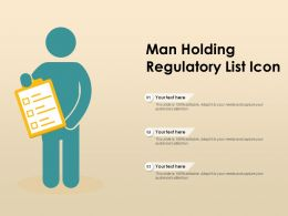 Man Holding Regulatory List Icon