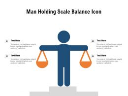 Man Holding Scale Balance Icon