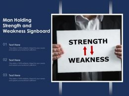 Man Holding Strength And Weakness Signboard