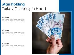 Man Holding Turkey Currency In Hand