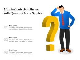 Man In Confusion Shown With Question Mark Symbol
