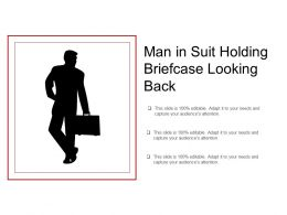 Man In Suit Holding Briefcase Looking Back