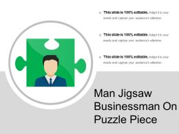 Man Jigsaw Businessman On Puzzle Piece