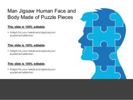 Man Jigsaw Human Face And Body Made Of Puzzle Pieces