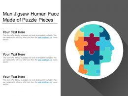 Man Jigsaw Human Face Made Of Puzzle Pieces