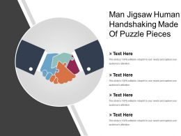 Man Jigsaw Human Handshaking Made Of Puzzle Pieces