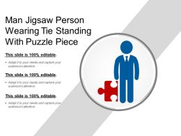 Man Jigsaw Person Wearing Tie Standing With Puzzle Piece