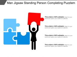 Man Jigsaw Standing Person Completing Puzzle
