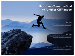 Man Jump Towards Goal To Another Cliff Image