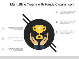 Man Lifting Trophy With Hands Circular Icon