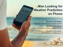 Man Looking For Weather Prediction On Phone