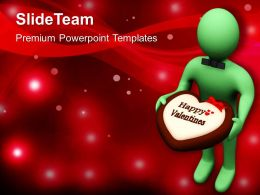 Man Offering Chocolate Treat With Valentine Note PowerPoint Templates PPT Themes And Graphics 0213