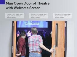 Man Open Door Of Theatre With Welcome Screen