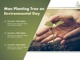 Man Planting Tree On Environmental Day