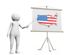Man Pointing On Map Of America Stock Photo