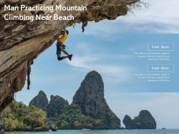 Man Practicing Mountain Climbing Near Beach