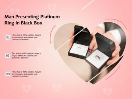 Man Presenting Platinum Ring In Black Box