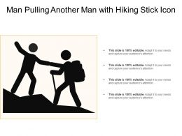 Man Pulling Another Man With Hiking Stick Icon