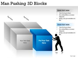 Man Pushing 3d Blocks Powerpoint Presentation Slides
