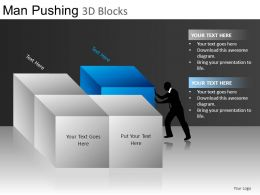 Man Pushing 3d Blocks Powerpoint Presentation Slides DB