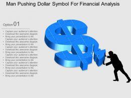 Man Pushing Dollar Symbol For Financial Analysis Flat Powerpoint Design