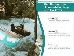 Man Reclining On Hammock For Sleep With Eye Cover