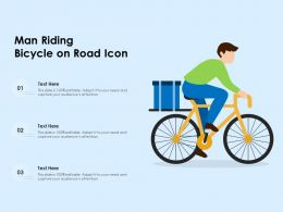 Man Riding Bicycle On Road Icon