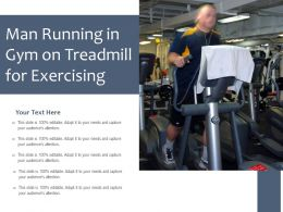 Man Running In Gym On Treadmill For Exercising