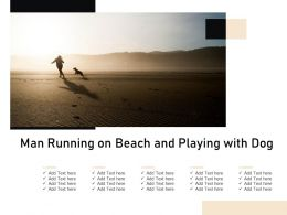 Man Running On Beach And Playing With Dog