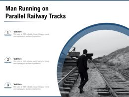 Man Running On Parallel Railway Tracks